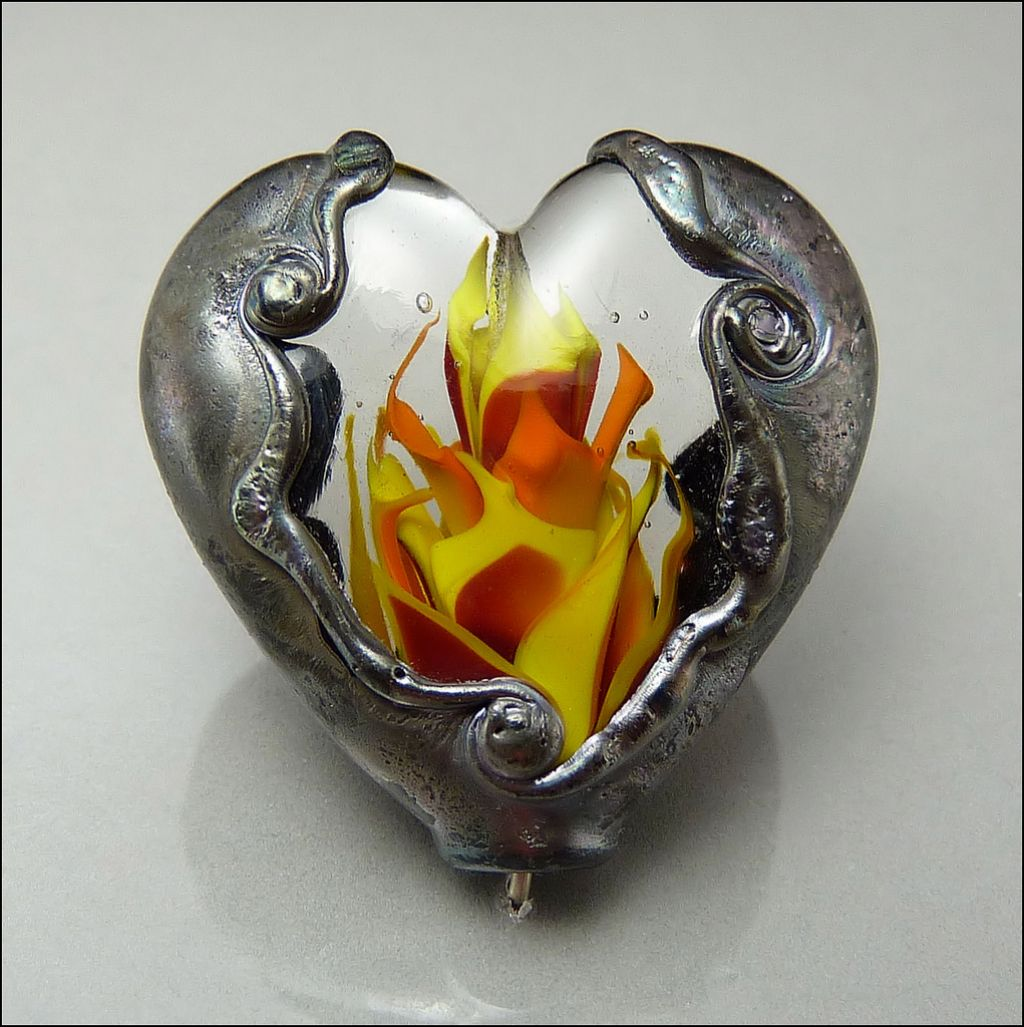 glass art10 Handmade Lampwork Hearts by Stephanie