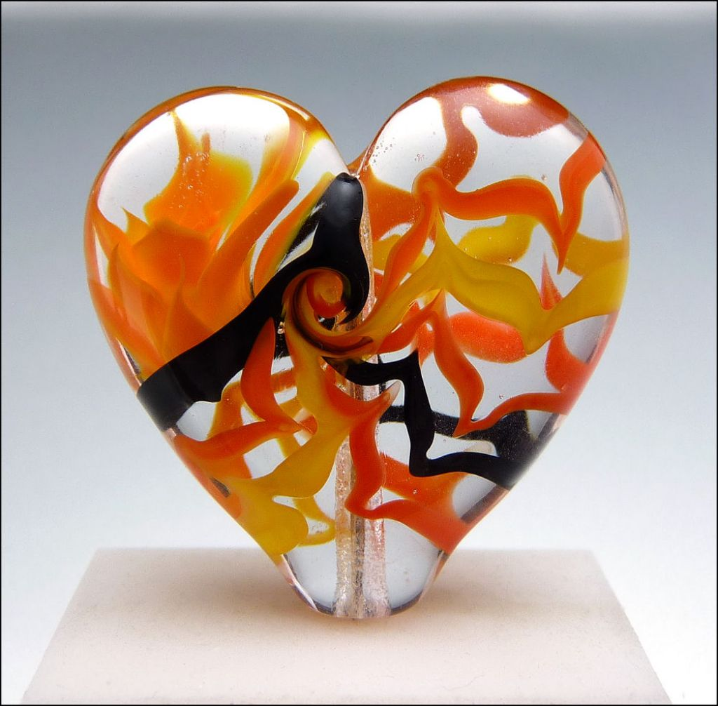 glass art15 Handmade Lampwork Hearts by Stephanie