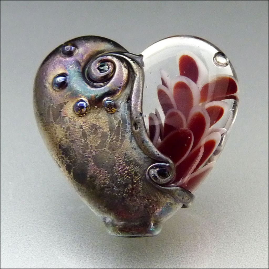 glass art19 Handmade Lampwork Hearts by Stephanie