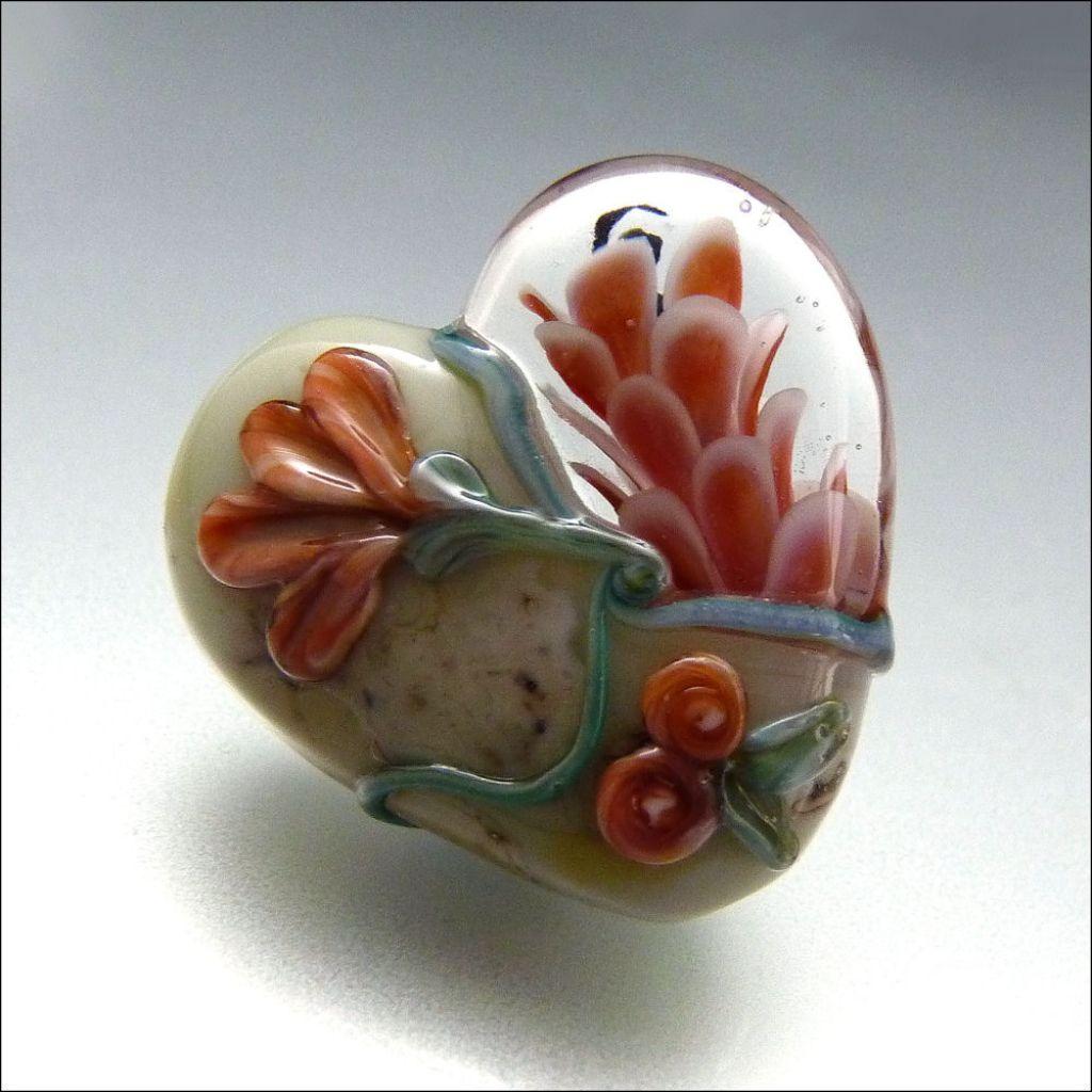 glass art4 Handmade Lampwork Hearts by Stephanie