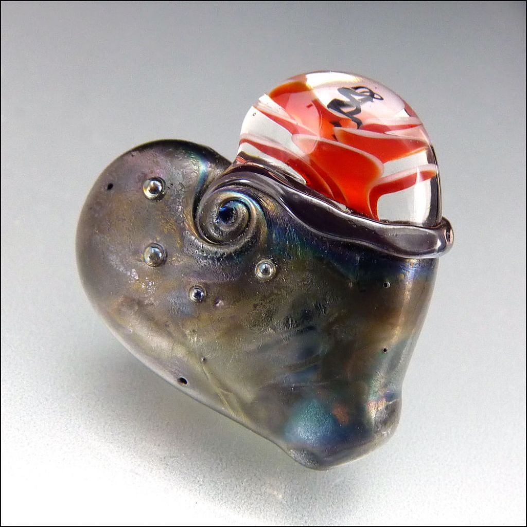 glass art5 Handmade Lampwork Hearts by Stephanie