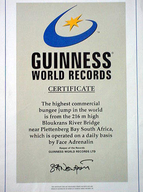 highest bungy12 Worlds Highest Bungy from 216 m High Bloukrans Bridge