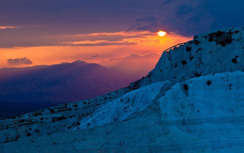 pamukkale Sunset in Pamukkale Travertine Terraces, Turkey