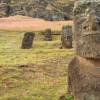 Gigantic Moai Statues and Heads in Polynesian Easter Island