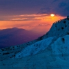 Sunset in Pamukkale Travertine Terraces, Turkey