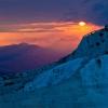 Sunset in Pamukkale Travertine Terraces, Turkey