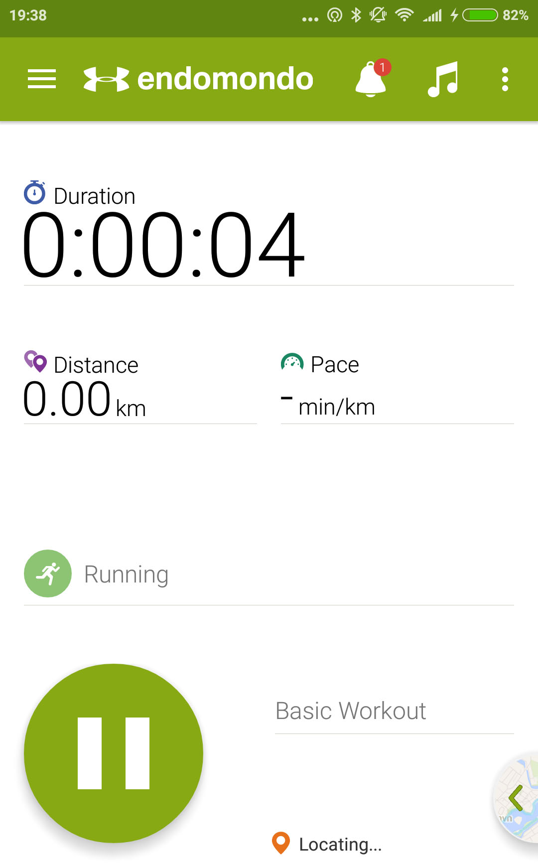 endomondo activity screen