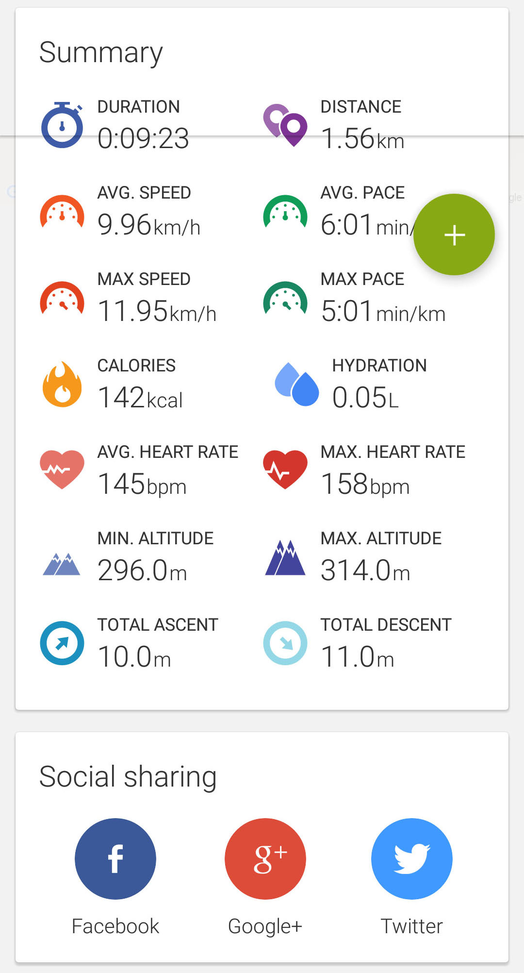 endomondo workout details