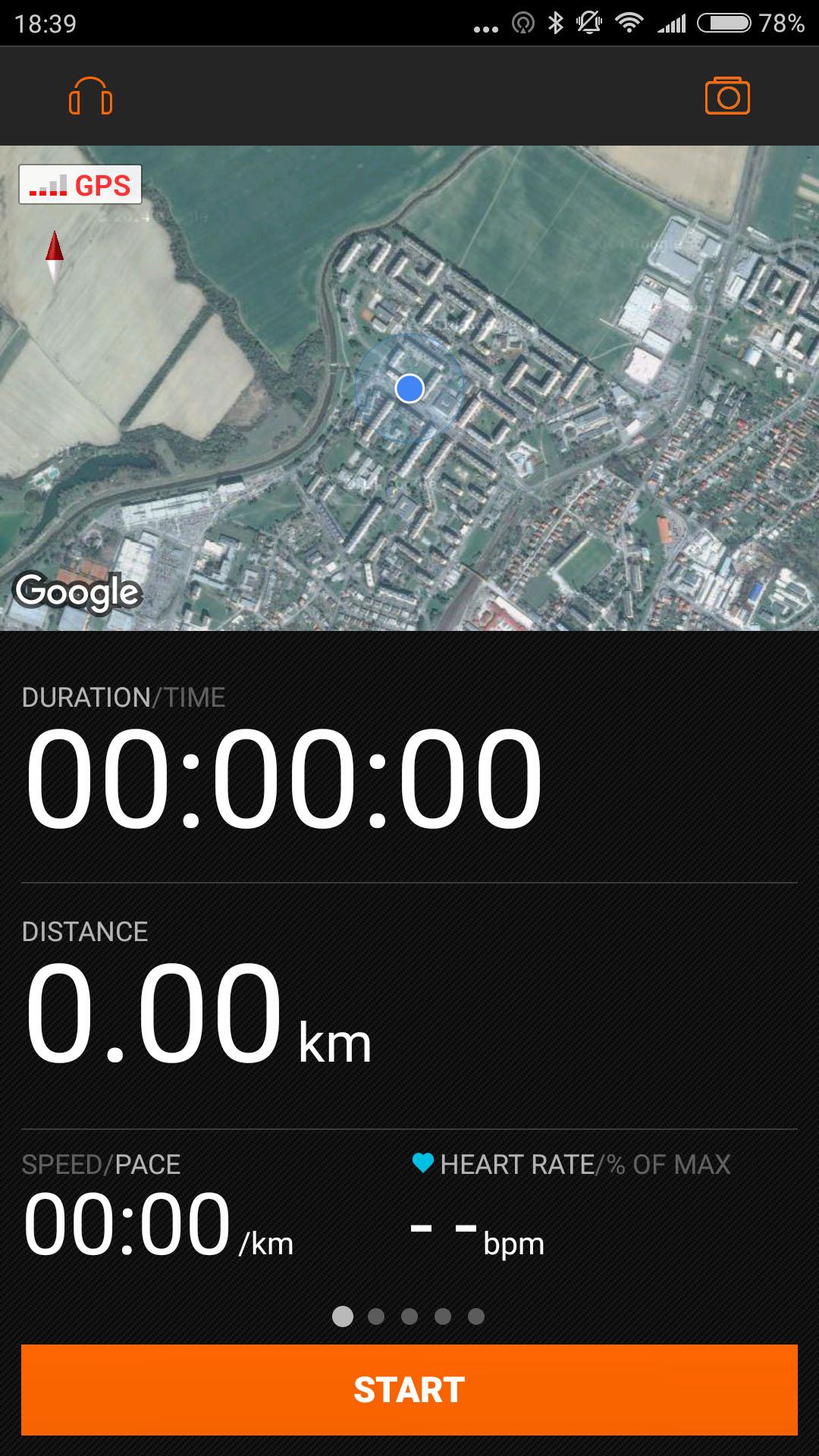 sports tracker activity screen