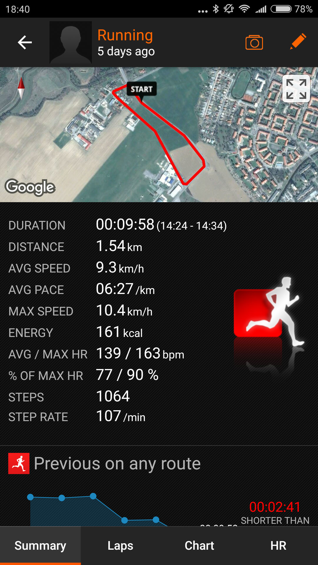 sports tracker workout details