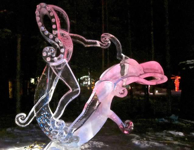 art on ice10 Beautiful Colored Ice Sculptures in Alaska