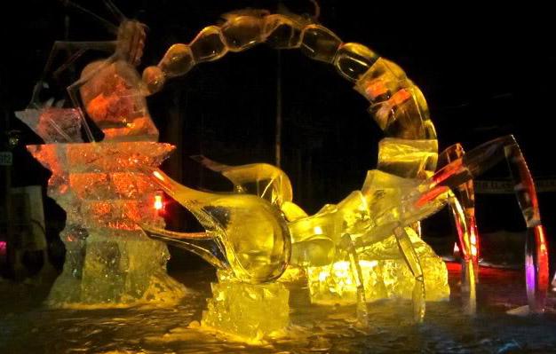 art on ice4 Beautiful Colored Ice Sculptures in Alaska