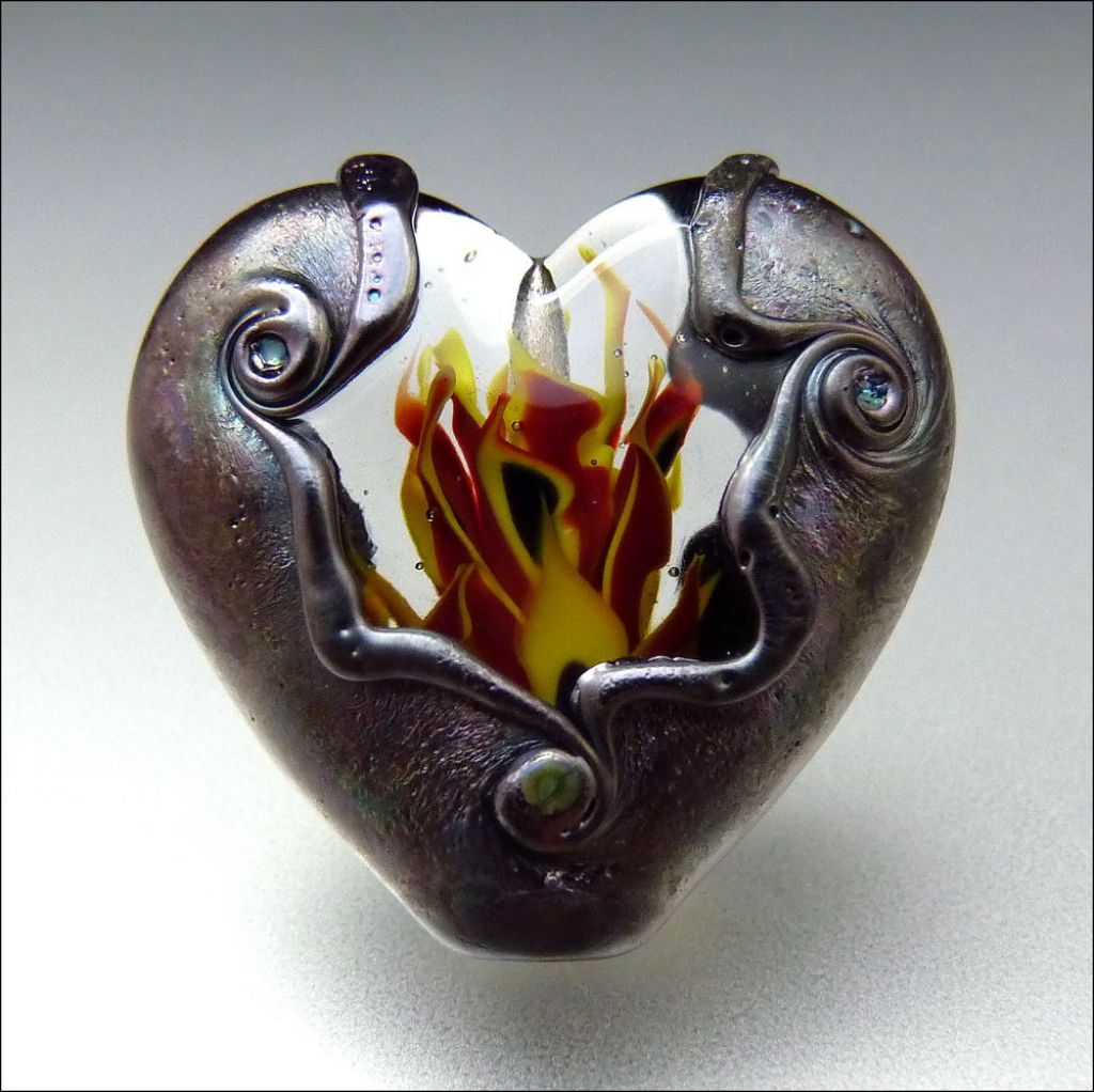 glass art Handmade Lampwork Hearts by Stephanie