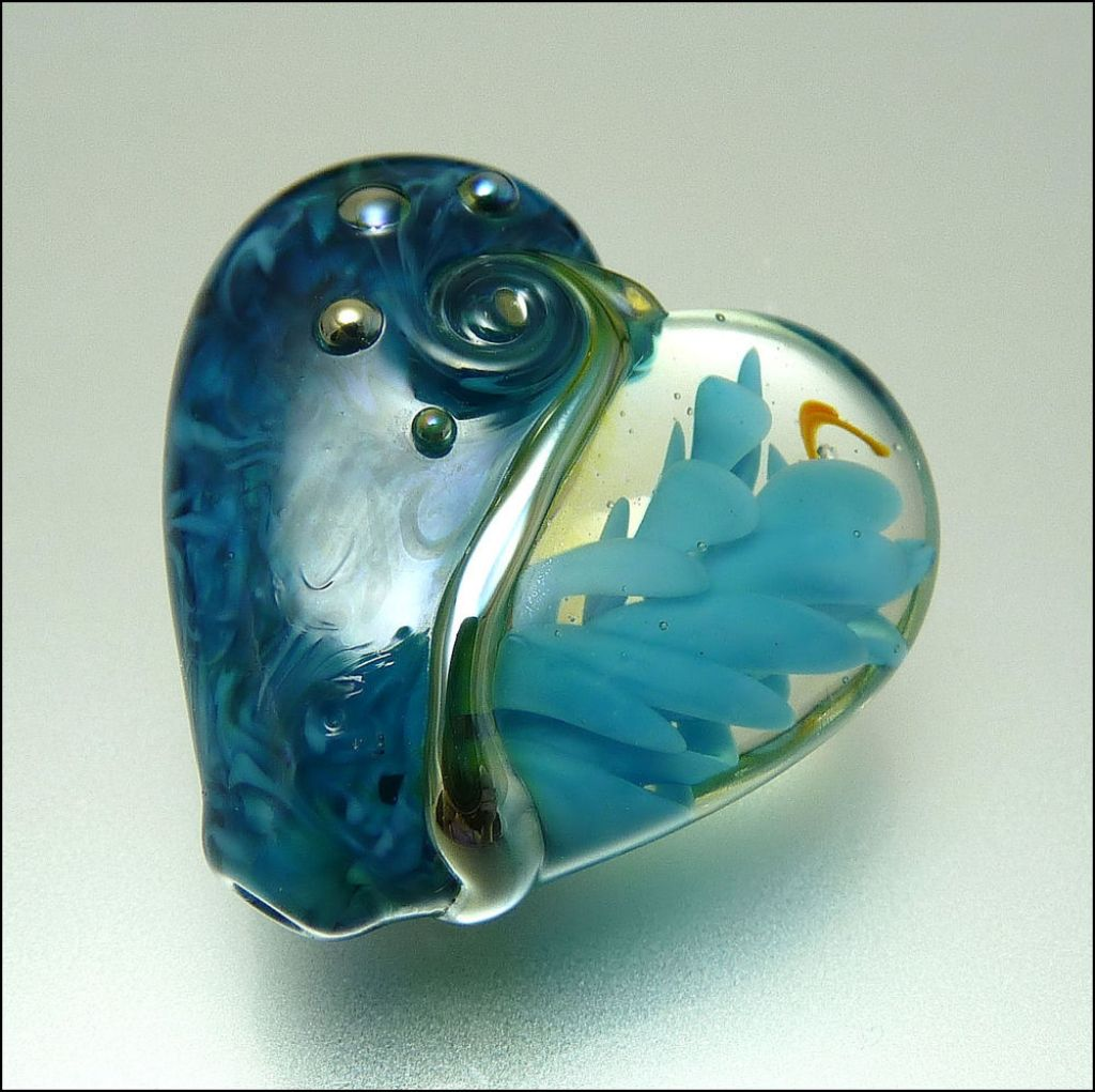 glass art11 Handmade Lampwork Hearts by Stephanie
