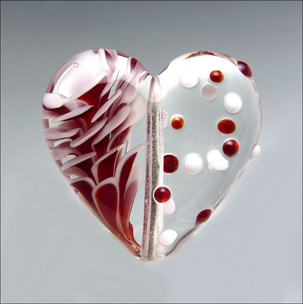 glass art13 Handmade Lampwork Hearts by Stephanie