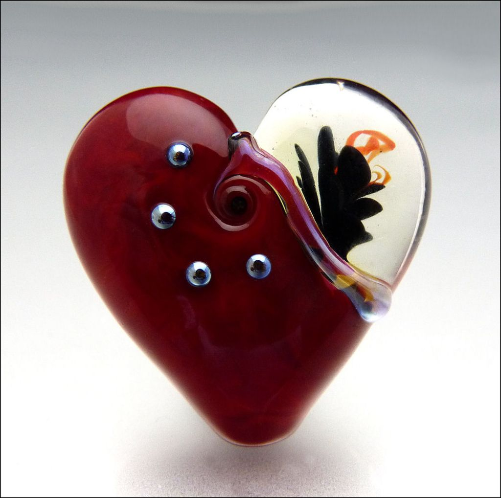glass art14 Handmade Lampwork Hearts by Stephanie