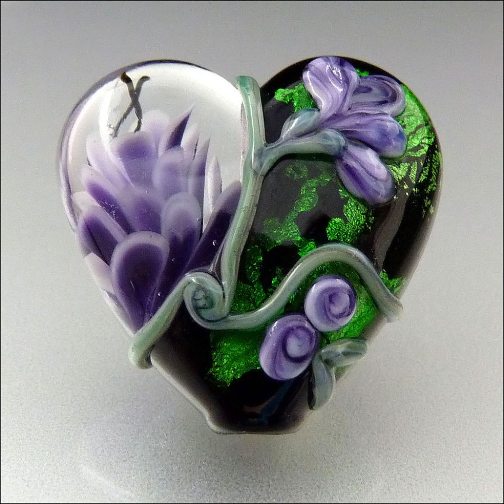glass art2 Handmade Lampwork Hearts by Stephanie