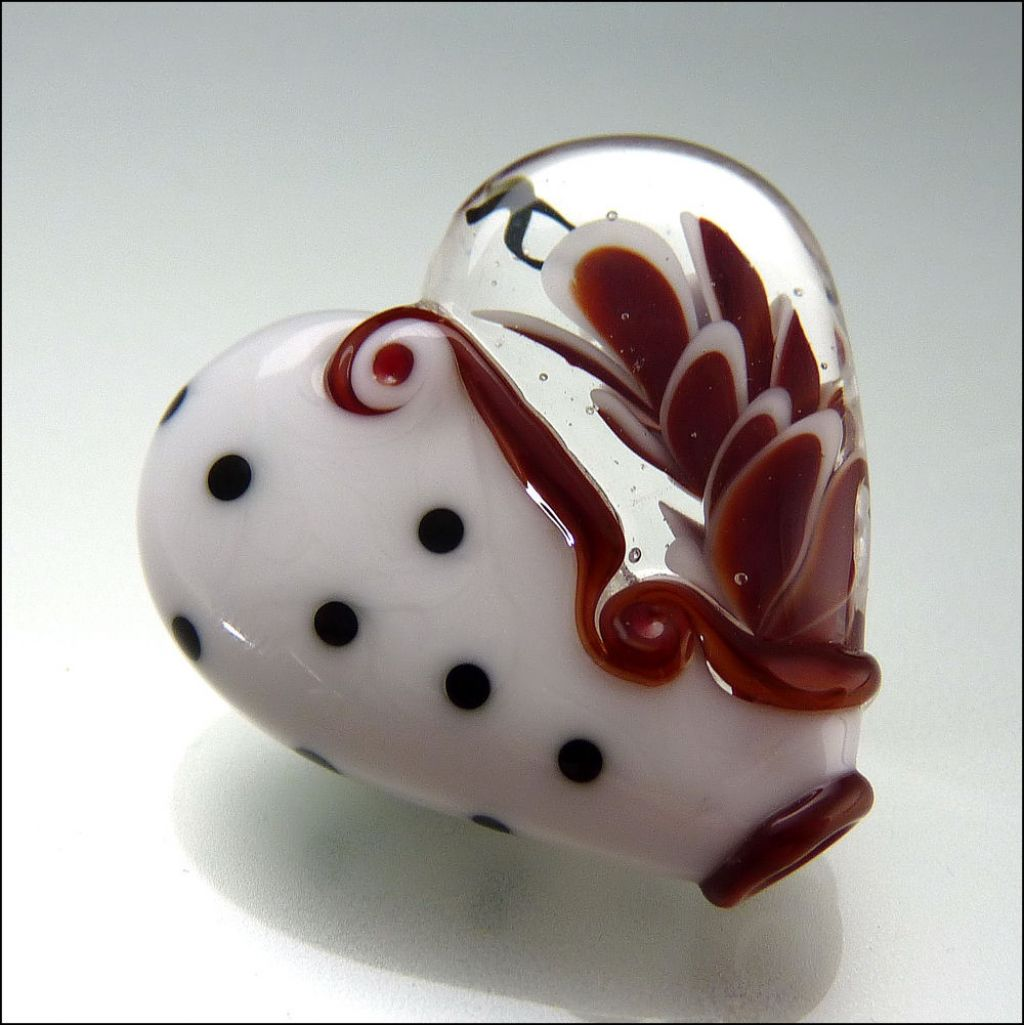 glass art9 Handmade Lampwork Hearts by Stephanie