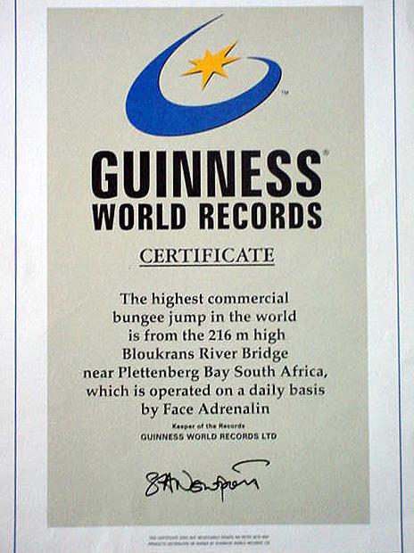 highest bungy12 Worlds Highest Bungy from 216 m High Bloukrans Bridge