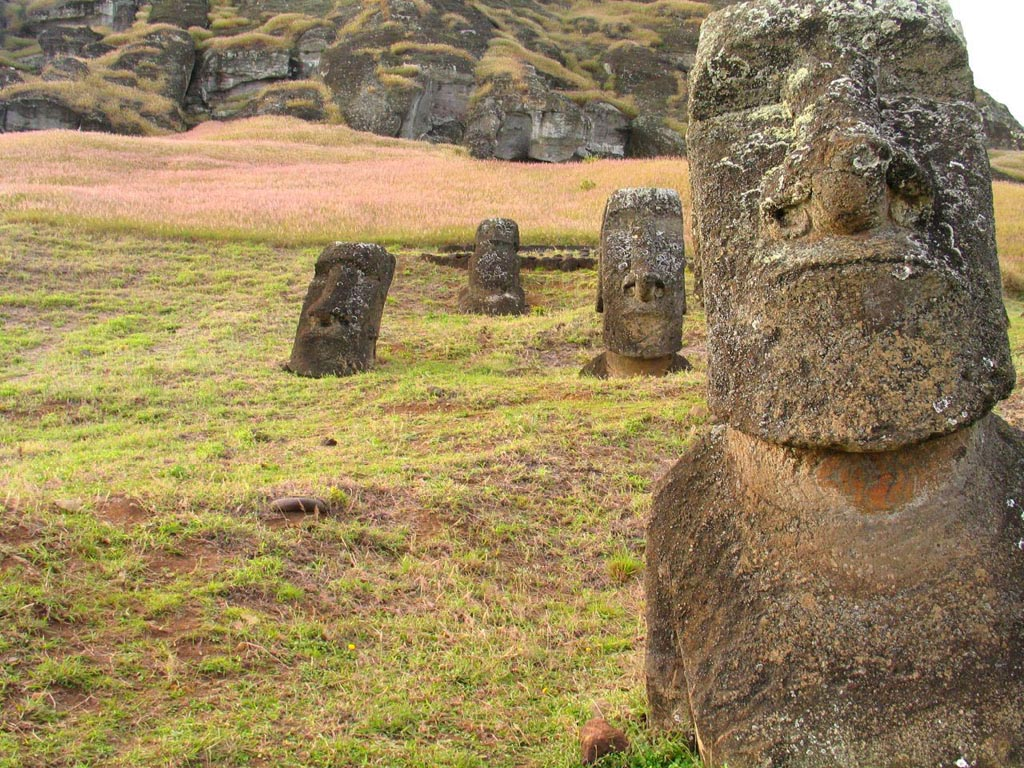 rapa nui Gigantic Moai Statues and Heads in Polynesian Easter Island