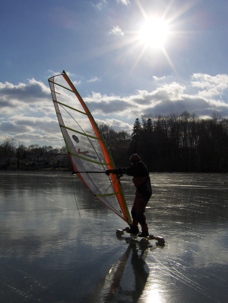 ice boat Yachting on a Lake with Ice Boats