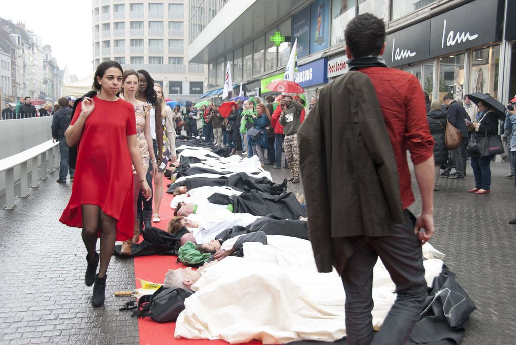 rana plaza1 Rana Plaza Disaster   Protest after One Year in Brussels