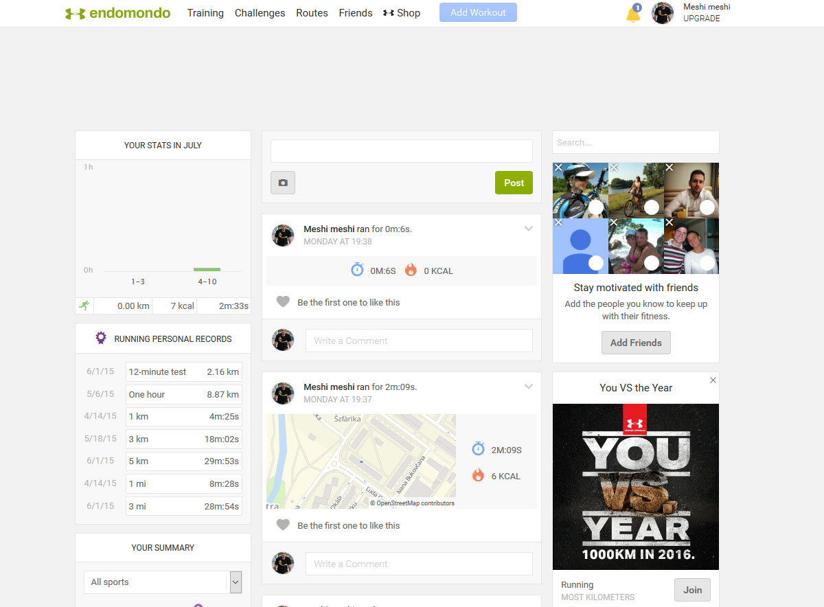 Endomondo homepage