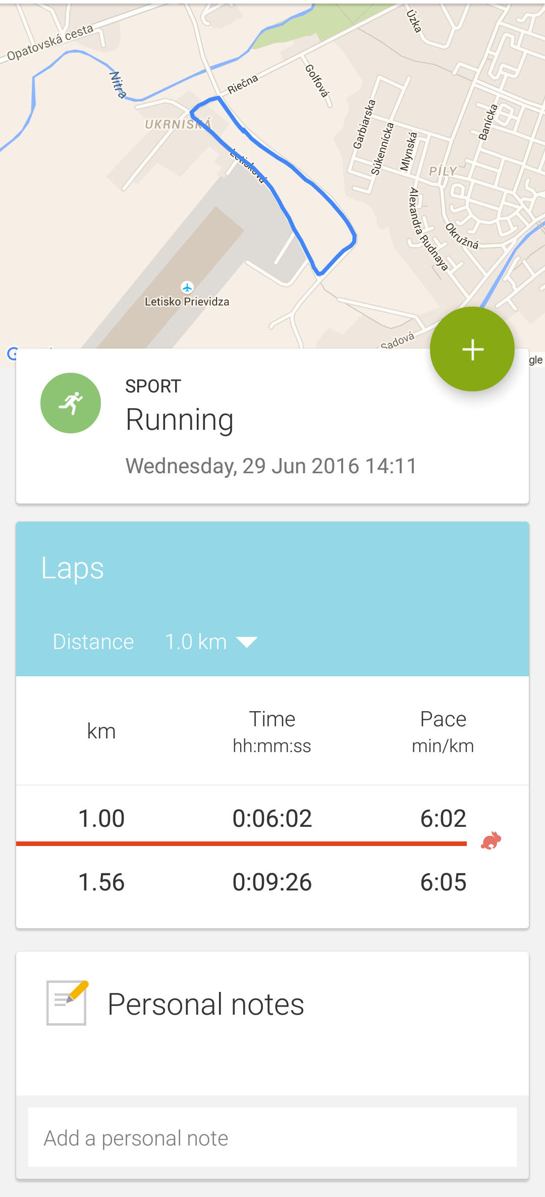 endomondo workout details splits