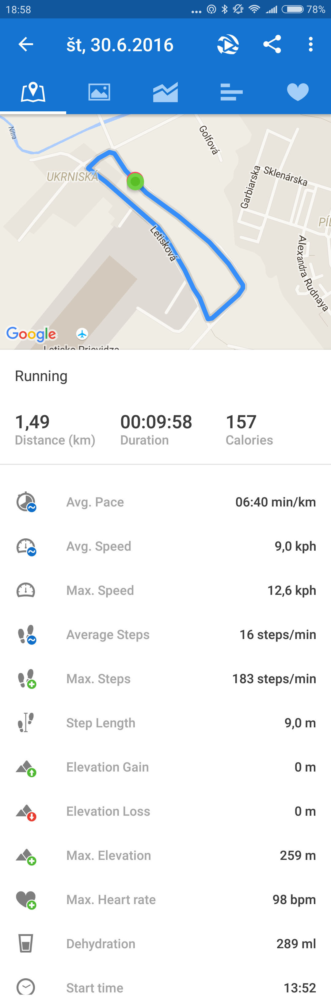 runtastic workout details